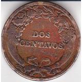 Perú, Antigua Y Rara Moneda De Bronce Dos Centavo 1919