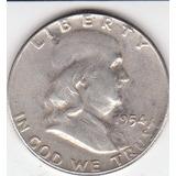 Eeuu, Antigua Moneda De Plata 0,900 Half Dollar 1.954