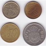 Set De 4 Monedas De España! 5-5-5- Pesetas + 10 Cent Euro