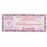 Bolivia, Cheque De Gerencia 10´000.000 Pesos 1.985 Unc