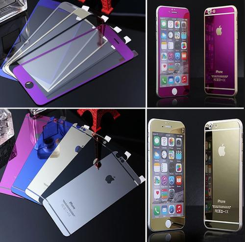 mica de cristal templado espejo para iphone colores delantera y trasera