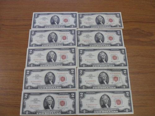 Billetes De 2 Dolares Sello Rojo, De 1953 Y 1963