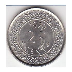 Surinam,  Antigua Moneda De Nickel 25 Cents. 1.979
