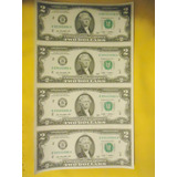 Extremadamente Raro: 4 Billetes De 2 Dolares, Sin Cortar.