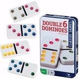 Juego  Domino Doble Seis Pintas De Colores Estuche Lata Ypt