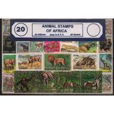 Sellos Postales De Fauna Africana 20 Diferentes Monos Leones