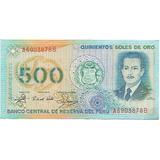 Perú, Billete Coleccionable 500 Soles De Oro 1.982 Unc