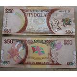 Billetes Mundiales: Guyana 50 Dolares Conmemorativo Nuevo