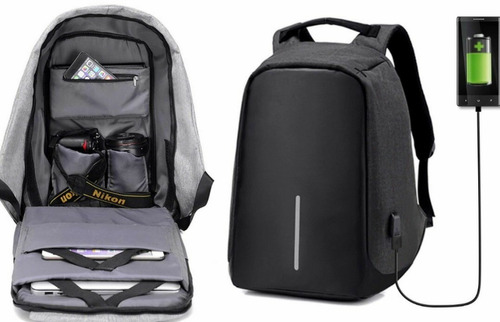 Mochila Porta Lapto Antirobo  Conexion Usb