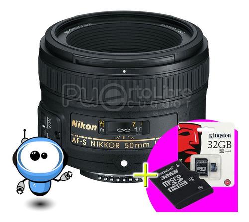 Nikon Lente Af-s Nikkor 50mm F/1.8g + Memory Estuche Parasol