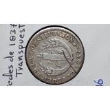 Moneda Antg, 2 Reales, 1837, Gj, Transpuesta, Predecimal, Vf