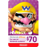 Nintendo Eshop Gift Card Tarjeta $70 / 3ds Wii U Switch Usa