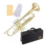 Trompeta Dorada Con Estuche Y Kit De Cuidado