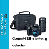 Camara Canon T6+ 2 Lentes 18-55/75-300 + Estuche Canon, Iva