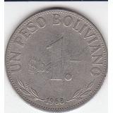 Bolivia, Antigua Moneda Cu-ni 1 Peso Boliviano 1.968