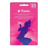 Tarjeta Itunes De $25 Para Apple Store Usa