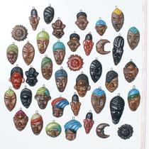 Lote De 4 Mascaras Pequenas De Ceramica Arte Afro En Ecuador