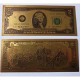 Billete De 2 Dolares Bañado En Oro De 24k Nuevo Coleccion