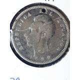 Moneda Antigua-dos Decimos-1889-plata-ecuatoriana