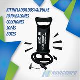 Kit Inflador Dos Valvulas Para Balones Colchones Sofás Bote