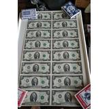 Sin Cortar, 16 Billetes De 2 Dólares En Una Sola Hoja, 1995