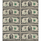 Set 10 Billetes Estados Unidos 2 Dolares Dif Series