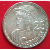 Guatemala 25 Centavos 1955 Moneda De Plata America Nina Maya