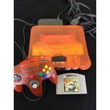 Nintendo 64 Naranja Con Juego Top Gear Palanca Y Cables