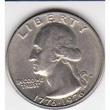 Eeuu,  Antigua Moneda De Nickel 25 Ctnts Bicentenario