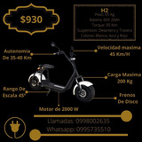 Moto Eléctricas Tipo Scooter De 2000 W, 2500 W Y 3000 W