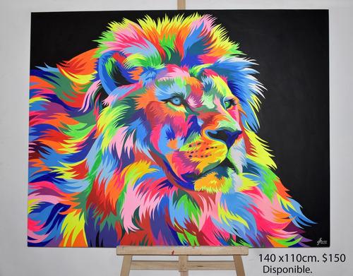 Cuadros Pop Art Animales De Colores Fluorescentes.
