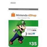 Nintendo Eshop Card Tarjeta Prepago Codigo Digital 35 Usd
