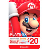 Nintendo Eshop Gift Card Tarjeta $20 / 3ds Wii U Switch Usa
