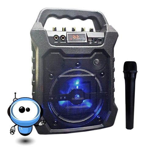 P O T E N T E Parlante Bluetooth Karaoke Usb Microfono Radio