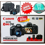 Camara Canon Profesional T6 Kit 2 Lentes +maleta Originales