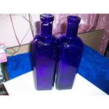 Antigua Botella De Farmacia Vidrio Azul, 21 Ctms. De Alto