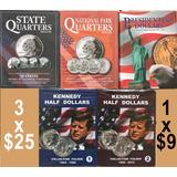 3 Album Para Coleccionar Las Monedas De Usa 25 Centavos 50