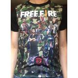 Camiseta Freefire Goku Dragon Ball Avengers Spiderman Fiesta