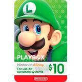 Nintendo Eshop Gift Card Tarjeta $10 / 3ds Wii U Switch Usa