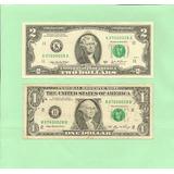 Dos Billetes Con El Mismo Número De Serie, De 2 Y 1 Dólar.
