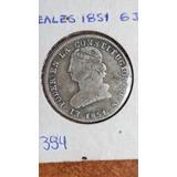 Moneda Antigua, 2 Reales, 1851, Gj, Ecuador, Predecimal, Vf