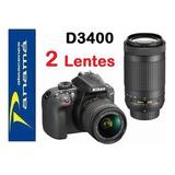 Nikon D3400  24.2mp + 2 Lentes  18-55mm / 70-300mm + Memory