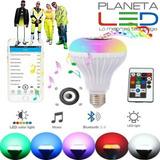 Foco Parlante Bluetooth Multicolor Led Inteligente + Control