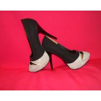 Zapato Mujer Plataforma 10 Negro Punta Brillo Talla 36