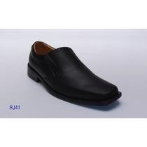 Zapatos Mocasín De Cuero Color Negro Mate / Caballeros