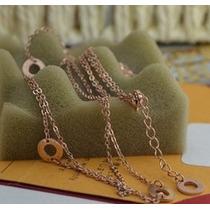 Collar Doble Fila De Cadenas Moda Titanium Acero Tono Oro