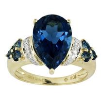 Anillo Oro Amarillo 10k Topacio 5.27kl Y Diamantes Original