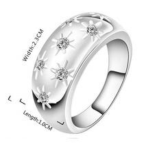 Anillo De Compromiso De Plata 925 Y Cristales Tipo Diamantes
