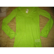Camiseta Aeropostale De Mujer Verde Manga Larga Small ( 752