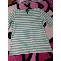 Linda Camiseta Talla Xs, Marca Karen Scott, Verde Con Blanco